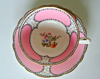 Paragon Star Tea Cup and Saucer Pink Black Floral Teacup Vintage