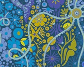 Fabric by the Yard --  Pearl in Lagoon from Diving Board by Alison Glass