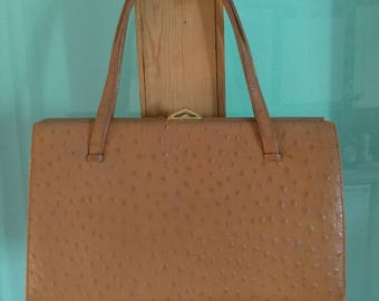 Vintage 1960s tan brown real ostrich leather Kelly style handbag bag purse