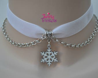 WHITE 16mm Velvet Ribbon Chain Choker Necklace With Enamel Snowflake Charm -mm... or choose another colour velvet, hand made to order :)