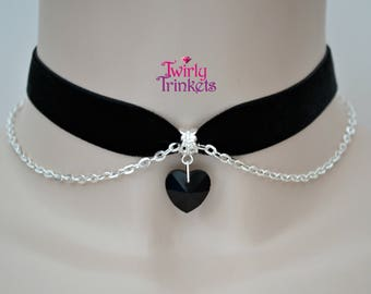 BLACK Velvet Ribbon Choker Necklace With BLACK Glass HEART Charm & Silver Plated Chain     qv... or choose another colour velvet or heart :)