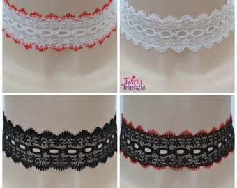 WHITE RED BLACK Lace Choker, Wide Holey Eyelet Collar Necklace - ku.. handmade to size in 4 colour options :)