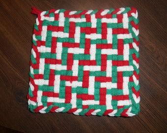 Potholder, Woven Potholder, Red Green White Potholder, Made in USA Loops, Christmas Gift Idea, Handmade Potholder,  Mug Rug,  Cotton Loops,