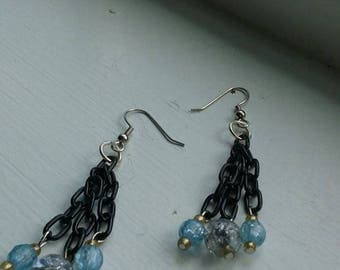 Dangly chain earrings w/ blue accent beads