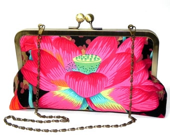Floral Clutch - Lotus Flower in pink, red, orange, green and aqua - Kaffe Fassett Fabric - Brass kisslock frame with chain