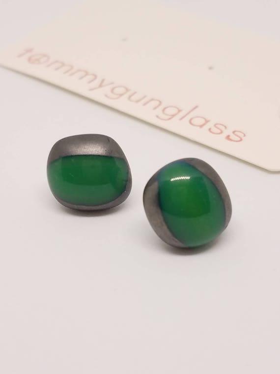 Steel and Wintergreen Glass Stud Earrings