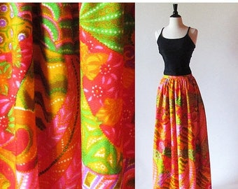 1/2 Off SALE Vintage 60s Psychedelic Maxi Skirt, Long Bright Skirt, Patio Party, Orange Cotton Print Skirt