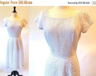 1/2 Off SALE Vintage 50s Cotton Dress, Pale Blue Dress, 1950 Summer Dress, Cotton Sheath Dress