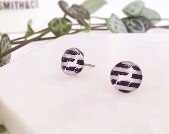 Christmas reindeer earrings - small Glass stud post earrings - Hypoallergenic post earrings