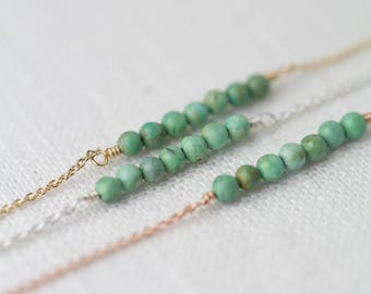 SALE Natural Green Turquoise Bar Gemstone Necklace, Summer Outdoors Jewelry, Sterling Silver, Gold Filled or Rose Gold Filled Necklace Gift