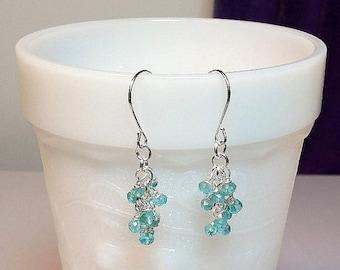 30% OFF SALE thru Sun Tiny Blue Apatite Gemstone Cluster Drop Earrings, Christmas Gift, Mom Sister Bridesmaid Girlfriend Jewelry Gift, Prett