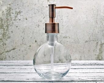 Small Soap Dispenser | Unique Bathroom Decor | Bathroom Accessories | Copper Kitchen Decor | Round Hand Soap Dispenser