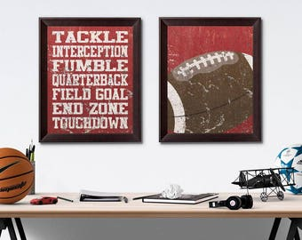 Football Vintage Weathered Wall Art Paper Prints