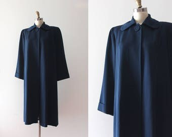 vintage 1940s coat // 40s navy blue coat