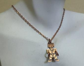 1960s Copper Native American Tiny Dancer Pendant Necklace