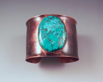 Turquoise Cuff- Tribal- Rustic- Earthy- Boho- Turquoise Copper Cuff- Statement Bracelet by RedPaw