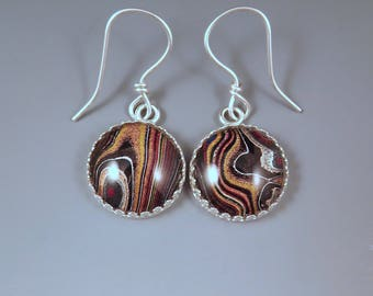 Fordite Earrings- Gorgeous Shimmering Earth Tones- Detroit Agate- Michigan Made- Sterling Silver Drop Earrings-Larger Size