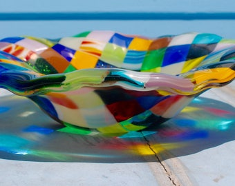 Fused glass patchwork bowl:  multi colored