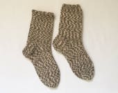 Knitted Socks medium sized (Women Size US 6.5-8.5, UK 4-6, Europe 37-39) grey white