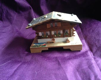 Vintage Swiss Chalet Music Box Hand Painted Wood Chalet Wooden House - Cuendet Switzerland - At Everything Vintage Shipping Is On Us!