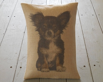Chihuahua Burlap Pillow, Dog Lover Gift, INSERT INCLUDED, free shipping