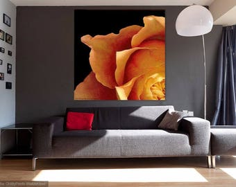 Golden Rose Original Painting Acrylic on Canvas Floral Flower Petals Amber Russet Orange Yellow X Large Art Modern Contemporary Garden