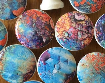 SUMMER SALE 6  wood drawer knobs grunge rusted paint designs wooden drawer knobs; rusted metal image design  hand decorated 1 1/2 inches