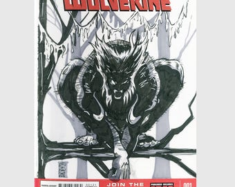Savage Wolverine / Logan / Sketch Cover / Variant Cover / Hand Painted Comic Book / Hand Drawn / Original Art / Pen and Ink / Markers
