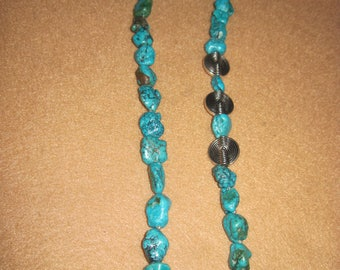Semi Precious Turquoise Nuggets and Silver Pieces Necklace...1 of a kind....1380h