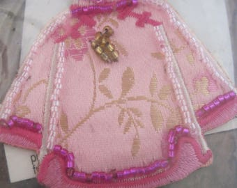 Hand Beaded Iron On Pink Kimono...Use on any material surface that can be ironed......807h