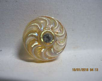 ANTIQUE AMAZING 1930's/40's Marigold Carnival Luster Glass Button w/ Faceted Glass Jewel...#662