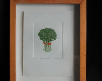 """Framed Martha Hinson """"Munch a Bunch"""" Broccoli Colored Etching Signed and Numbered 82/450"""