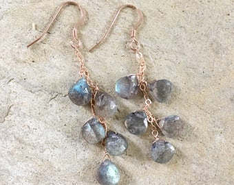 Labradorite Rain -- Cascading Labradorite Gemstones Wirewrapped in Rose Gold Labradorite Earrings Rose Gold Earrings Boho Jewelry Yoga Style
