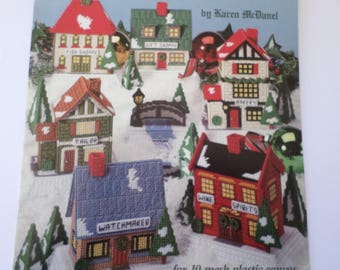 Plastic Canvas pattern book Christmas Shopping Village, buildings, shops