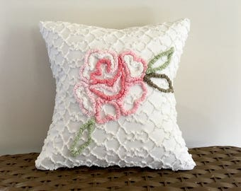 PINK ROSE vintage chenille pillow cover, 12 x 12 pink shabby cushion cover, cottage chic pillow sham, rose Cabin Crafts chenille