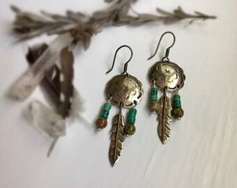 Sterling Silver Feather Turquoise and Jasper Tribal Earrings Boho Earrings