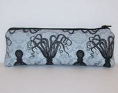 """Pipe Pouch, Octopus Bag, Pipe Case, Glass Pipe Bag, Vape Pen Bag, Stoner Gift, Weed, Cannabis, Padded Pipe Pouch, Zipper Pouch - 7.5"""" LARGE"""
