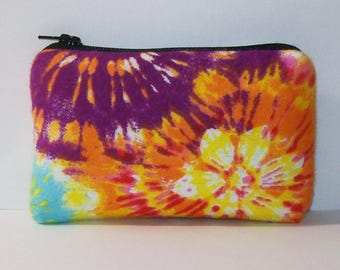 "Pipe Pouch, Tie Dye Bag, Colorful Pipe Case, Pipe Bag, Padded Pipe Pouch, Pipe Cozy, Hippie, Stoner, Smoke Accessory, Zipper Bag - 4"" MINI"