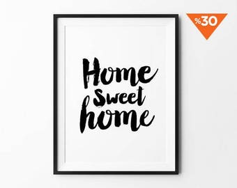 Home Sweet Home, Wall Decor, wall art, poster, typography quote, wall decor, home decor, black and white, minimalist art, cursive