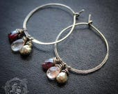 Alchemists Hoops. Pyrite, Quartz and Garnet with Sterling Silver Earrings.