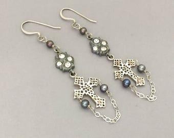 Christian Jewelry Cross Earrings - Sterling Silver Cross Dangle Earrings - Christian Earrings - Rhinestone Religious Gift Jewelry Earrings