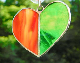 Earth Toned Heart Stained Glass Suncatcher Ornament Orange Green Wedding Gift Boho Bohemian Style Luck of the Irish