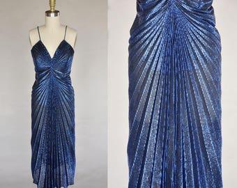 80s blue party dress   vintage silver metallic thread sleeveless dress   accordion pleating, glam