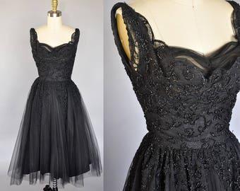 Kay Selig dress | 50s black tulle sleeveless dress | vintage black party dress