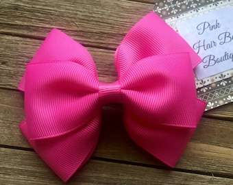Pink hair bow , 4 inch hair bow , pink boutique hair bow , toddler hair bow , hair bows for girls