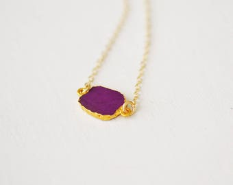 Purple Turquoise Slice Necklace, Bezel Set Turquoise Necklace in Gold, Gold Pendent Necklace, Gold Turquoise Necklace