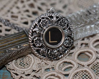 "Typewriter Key Necklace-Letter L Necklace-Aged Vintage Black Letter ""L""-Typewriter Glass Top Letter L-Typewriter Pendant-Letter L Necklace"