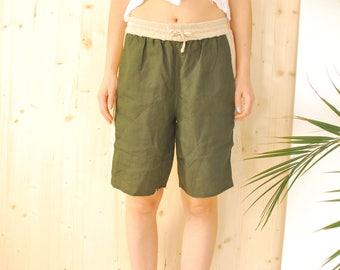 SALE Khaki Linen Shorts VINTAGE 80's khaki shorts M