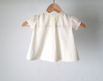 vintage MID CENTURY delicate lace trim cream handmade embroidered baby dress shirt top