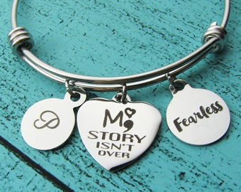 mental health awareness bracelet, my story isn't over, strength gift fearless, anxiety jewelry, depression awareness, self harm recovery